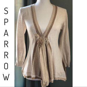 Anthropologie Sparrow Rosette Cardigan Brown Sz M